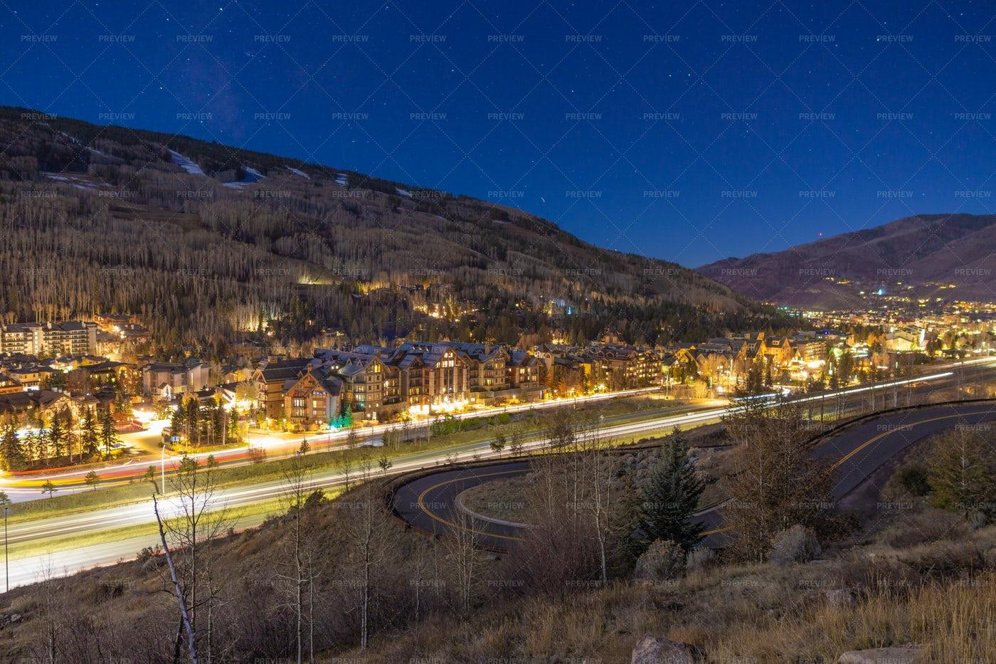 Panoramic Of Vail, Colorado: Stock Photos