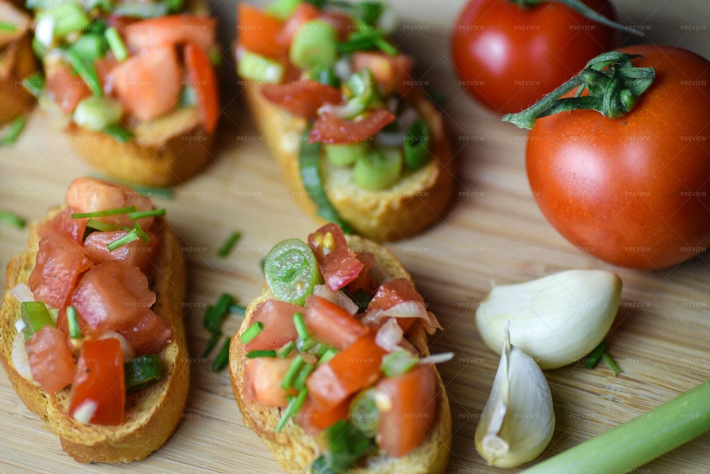Traditional Italian Bruschetta: Stock Photos
