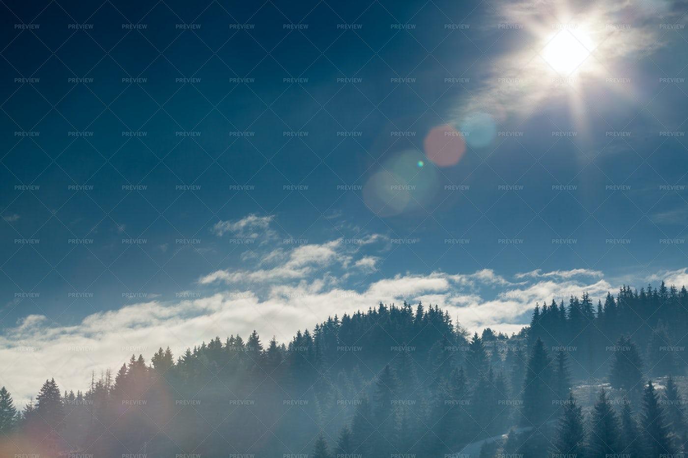 Sun Over Forest Mountains: Stock Photos