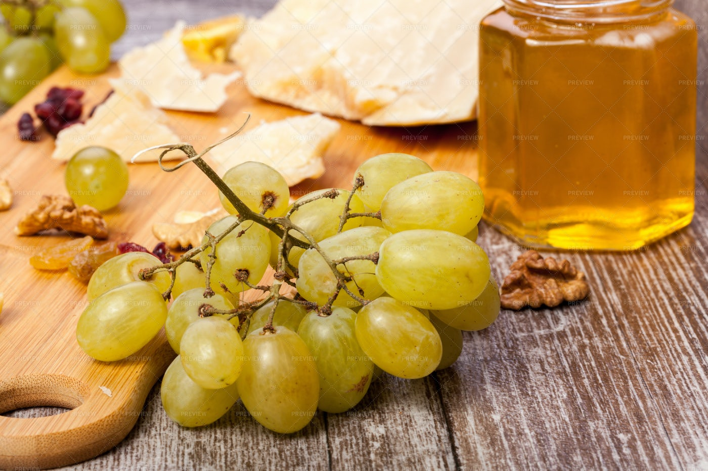 Grape, Cheese And Honey: Stock Photos
