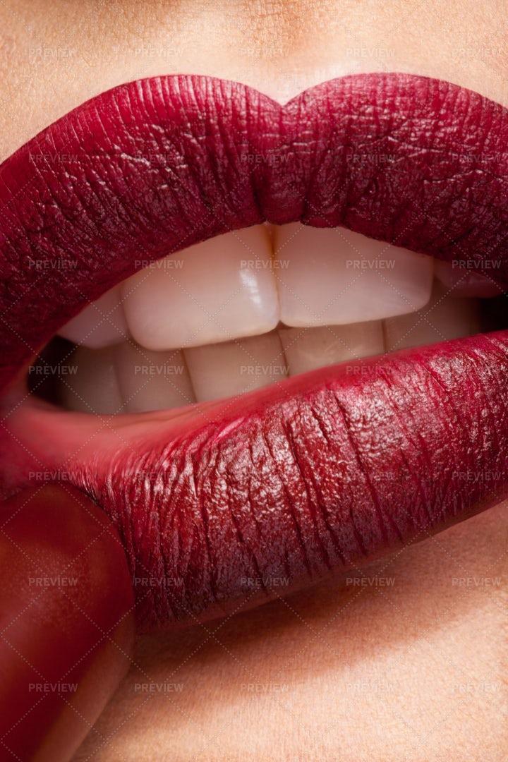 Applying Lipstick: Stock Photos