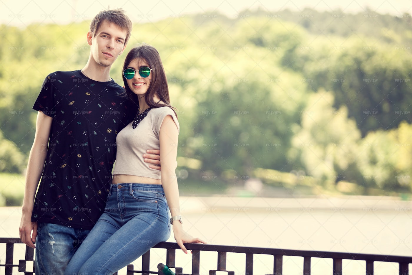 Teenage Couple In The Park: Stock Photos