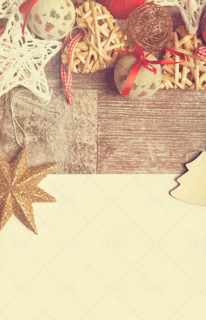 Christmas Ornaments Near Letter: Stock Photos