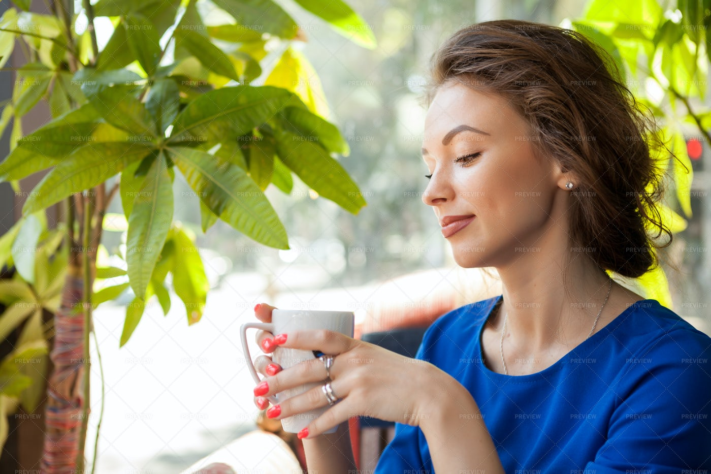 Relaxing Outside With Coffee: Stock Photos