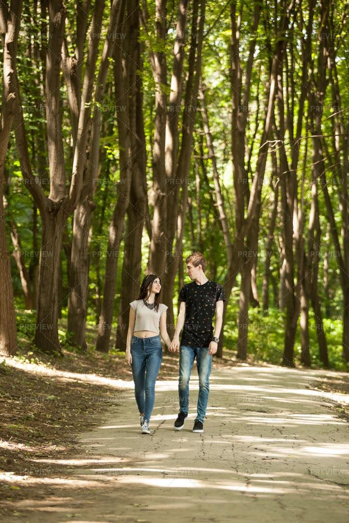 Couple On Nature Walk: Stock Photos
