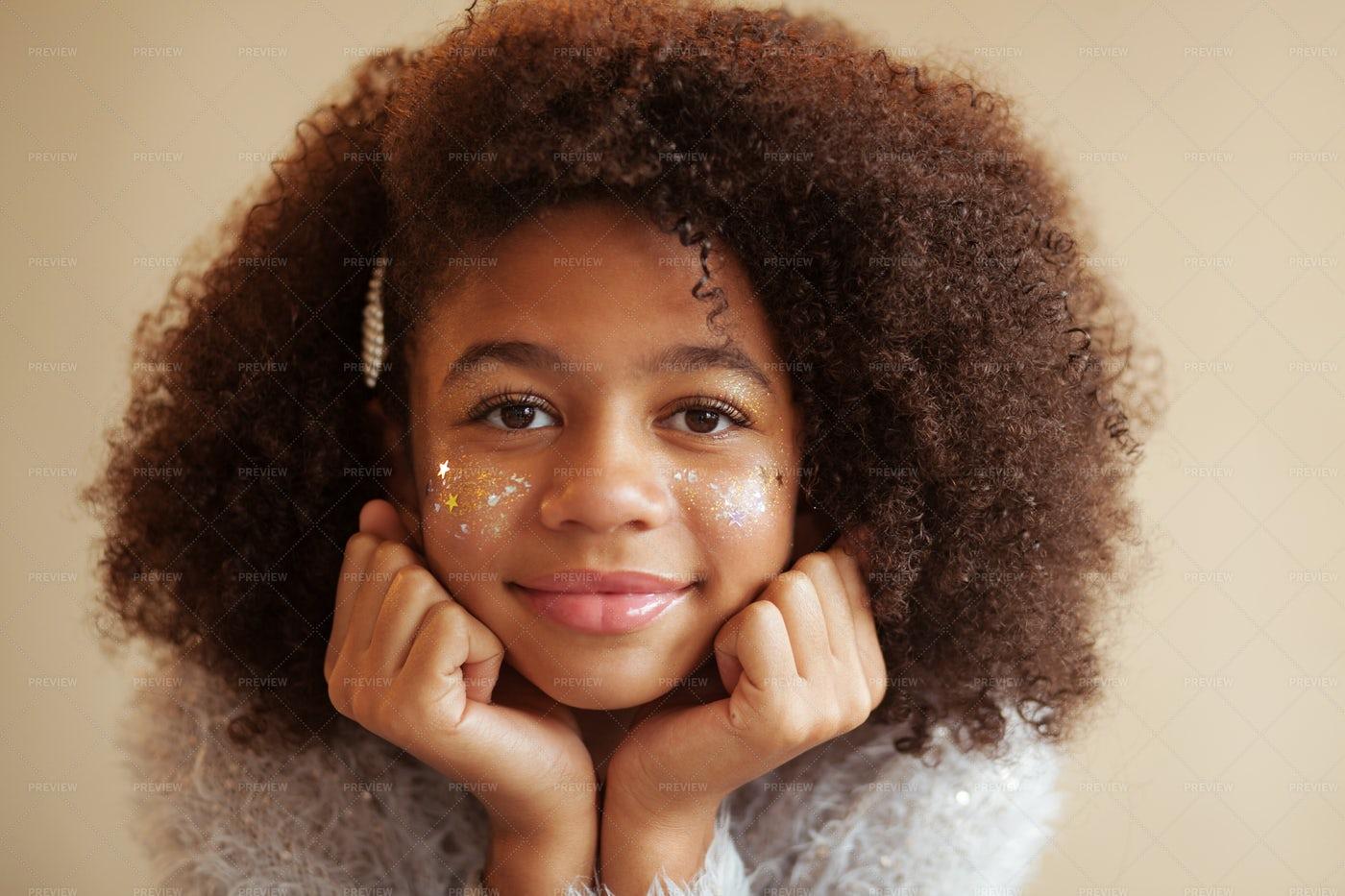 Girl With Shiny Makeup: Stock Photos