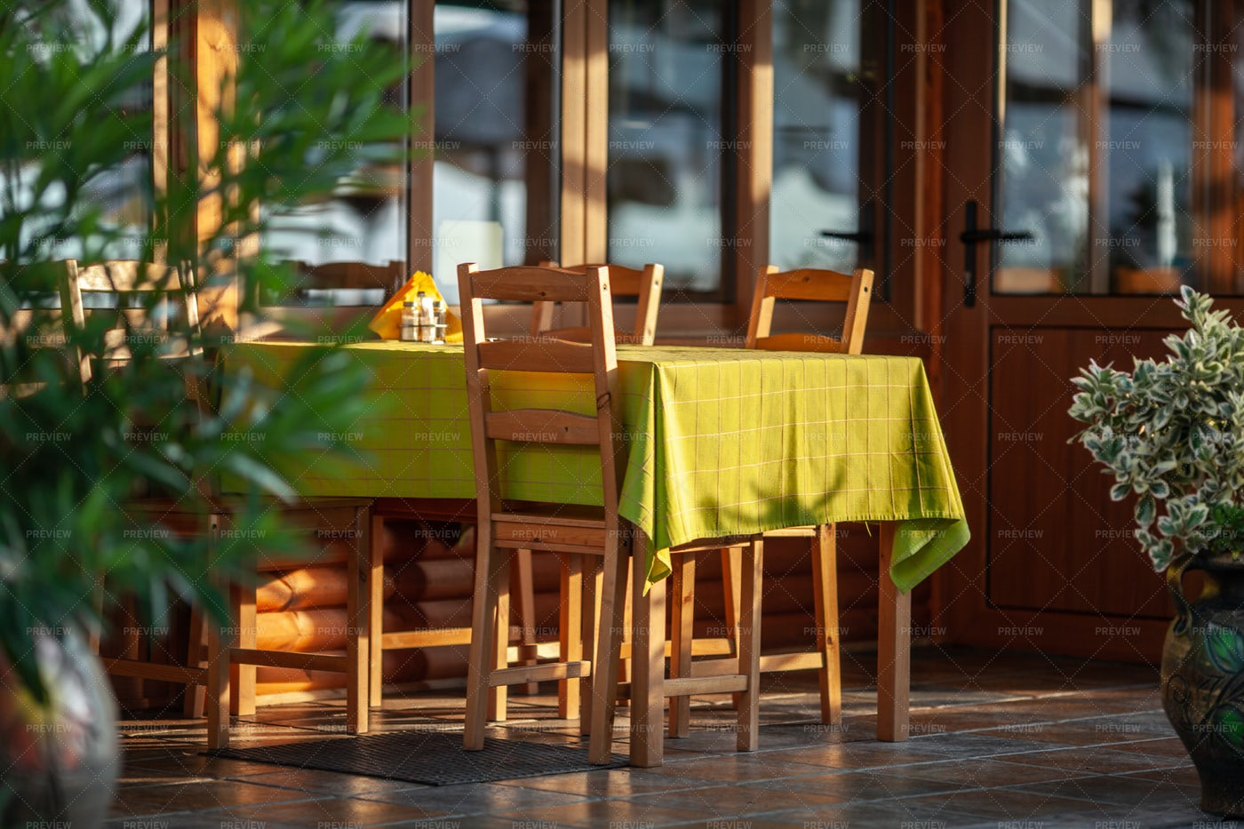 Cafe Table In Sunlight: Stock Photos