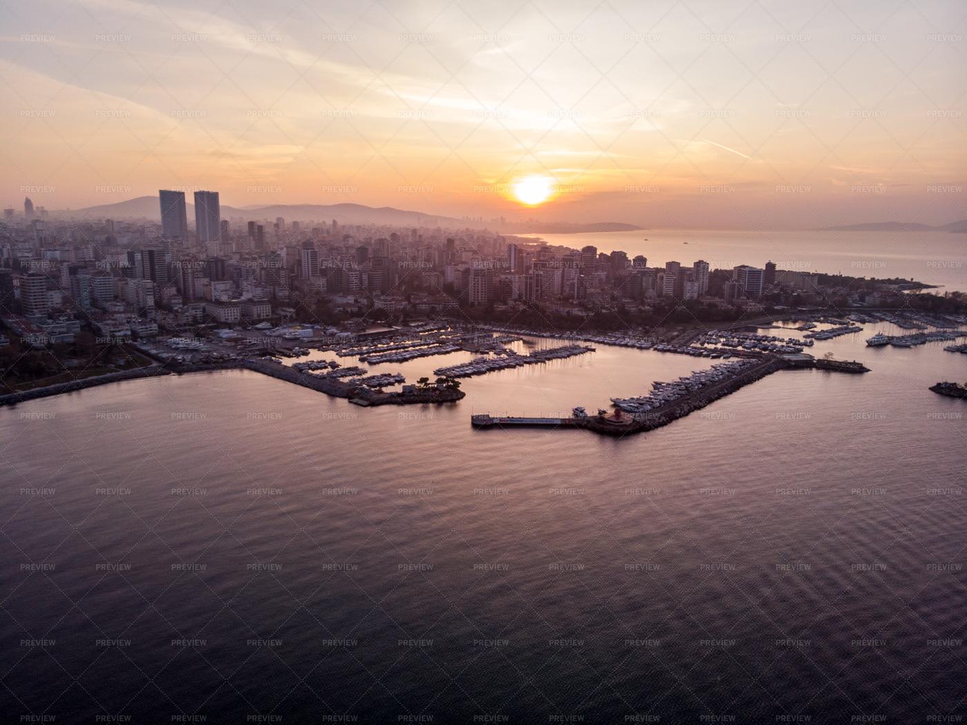 City And Marina Sunset: Stock Photos