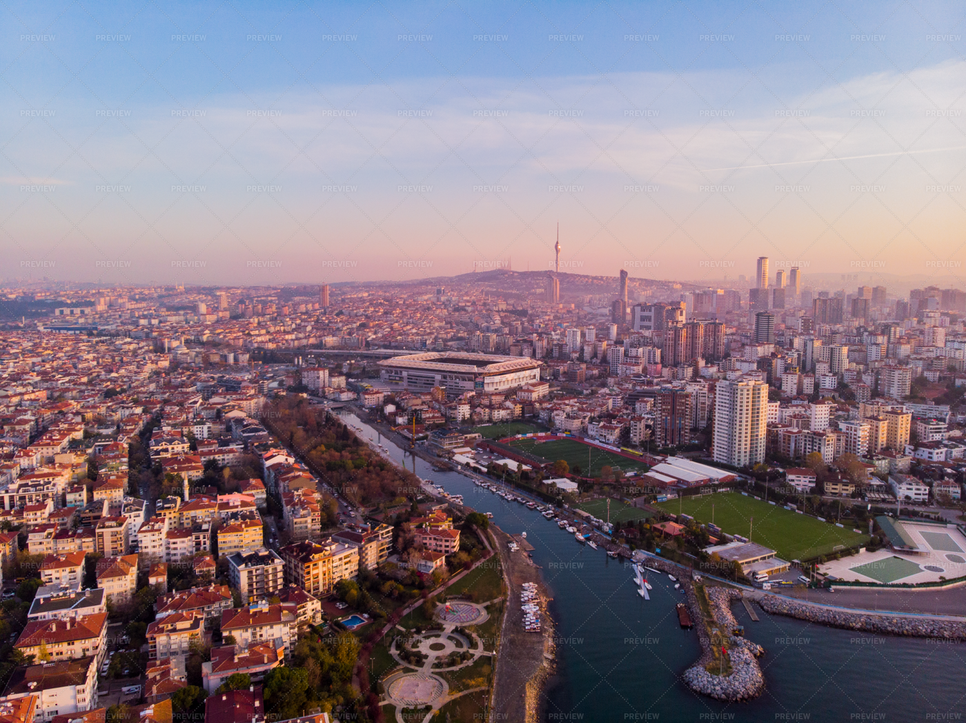 Aerial View Of A City And Stadium: Stock Photos