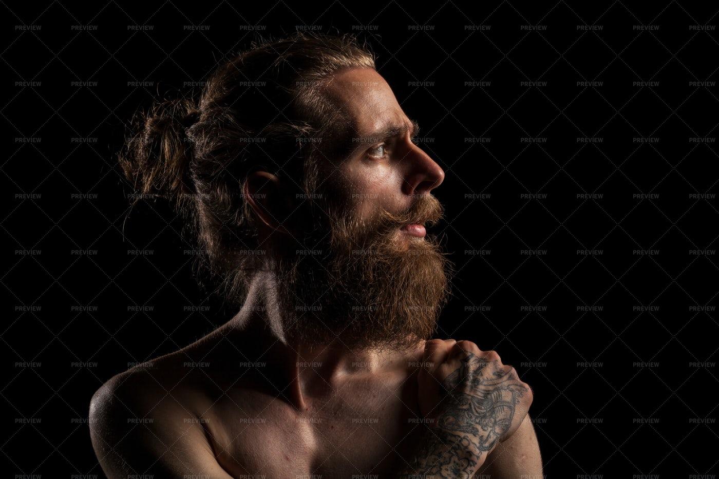 Hipster With A Man Bun: Stock Photos