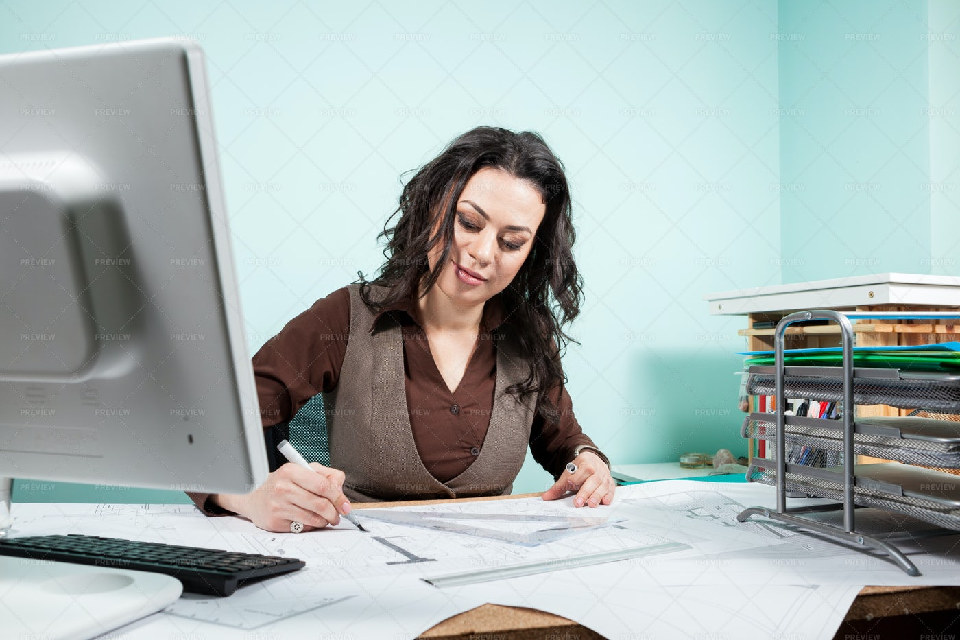 Architect  In Her Office: Stock Photos