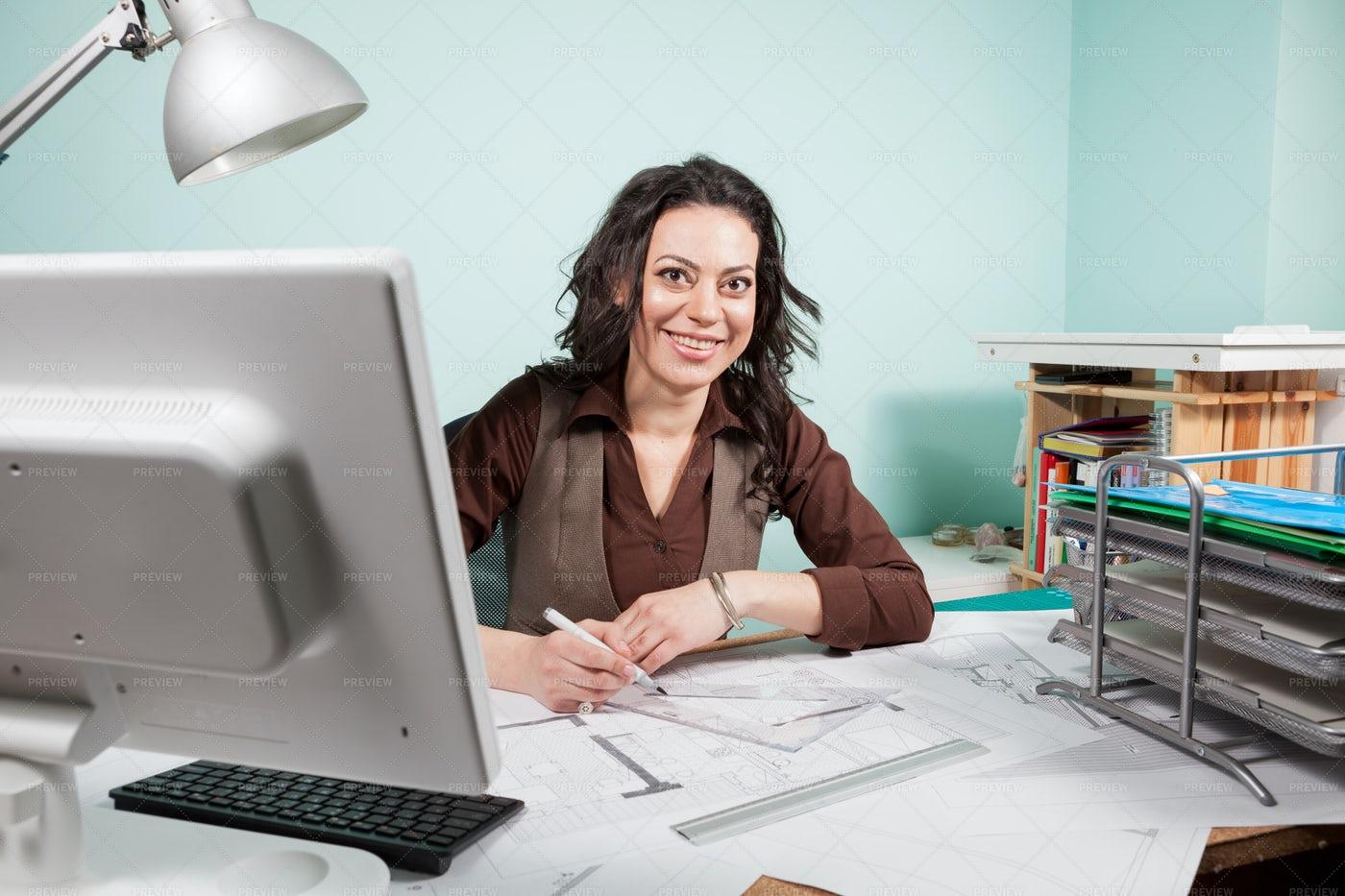 Portrait Of A Smiling Architect: Stock Photos