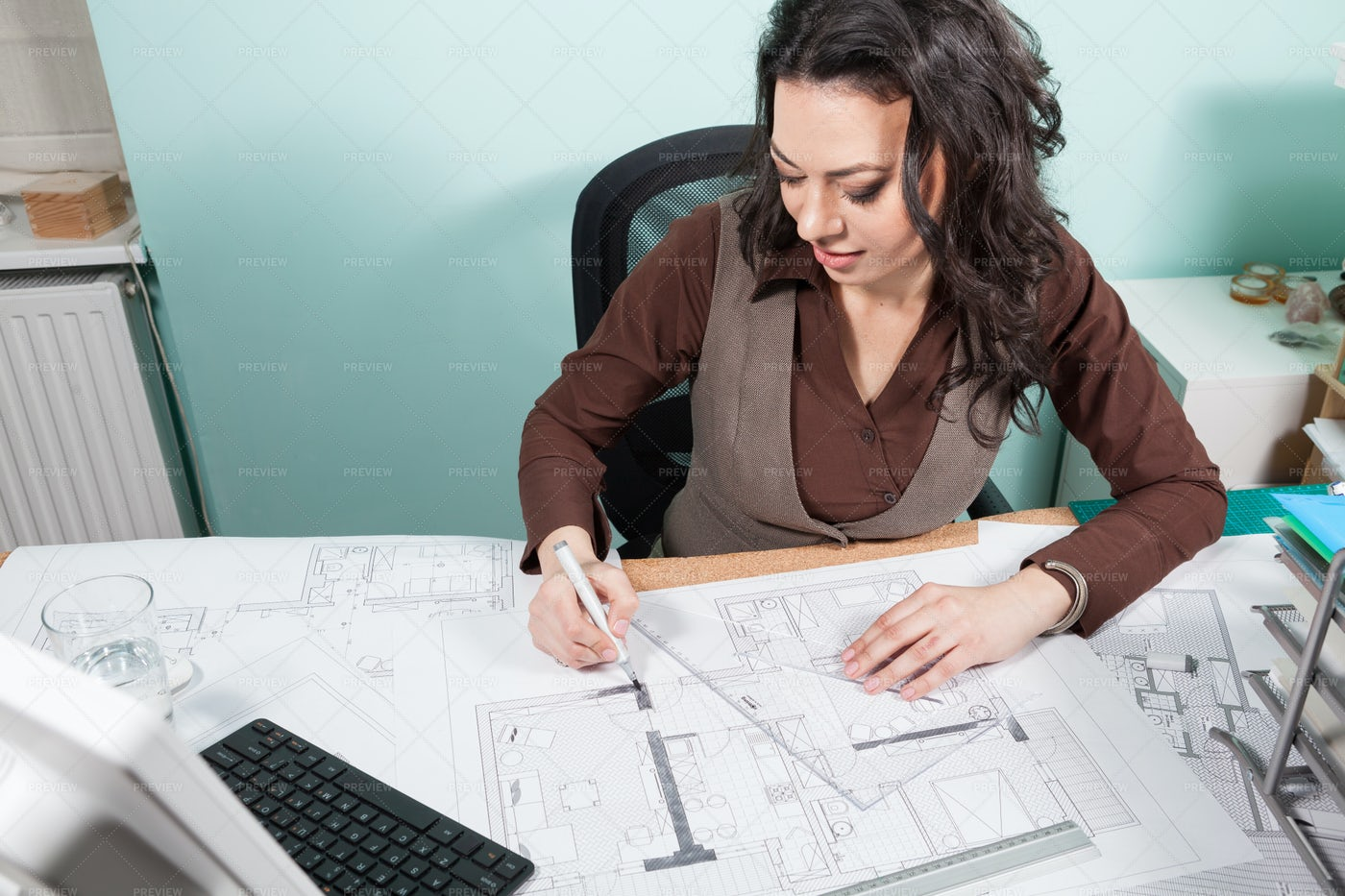 Architect At Her Desk: Stock Photos