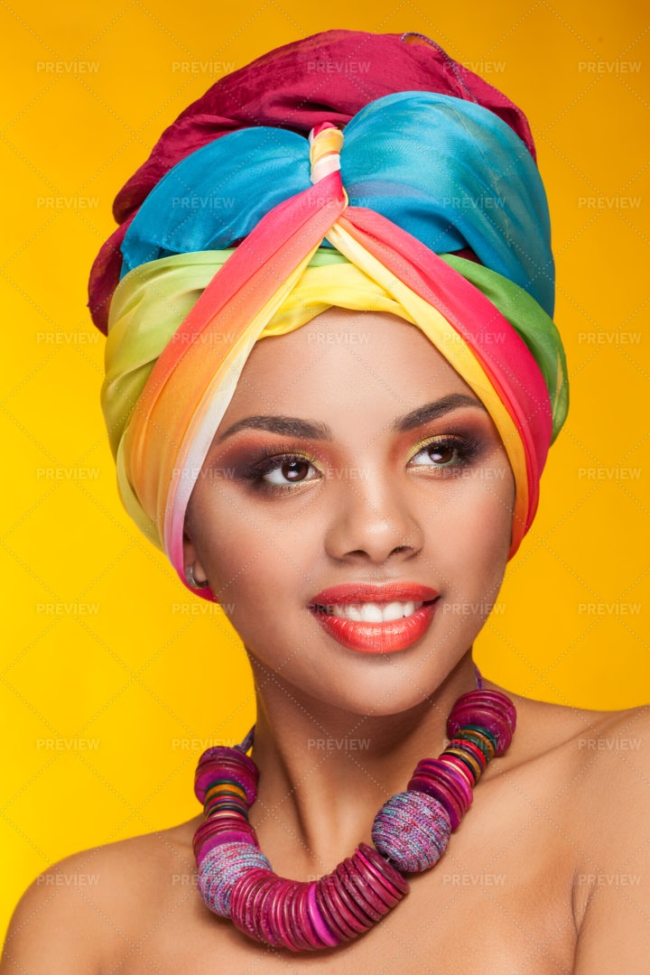 Woman In Colorful Accessories: Stock Photos