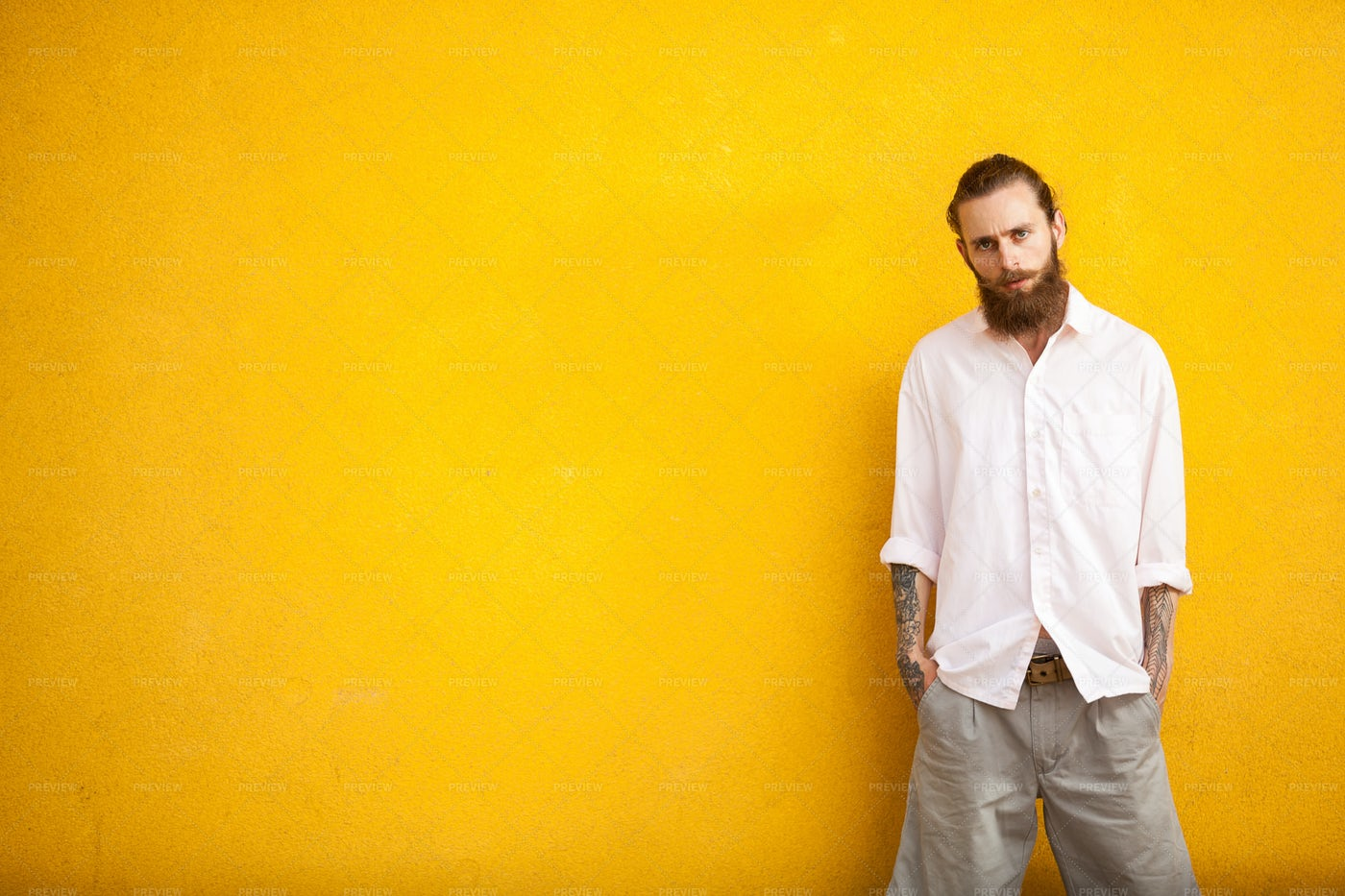 Male Hipster On Yellow Wall: Stock Photos