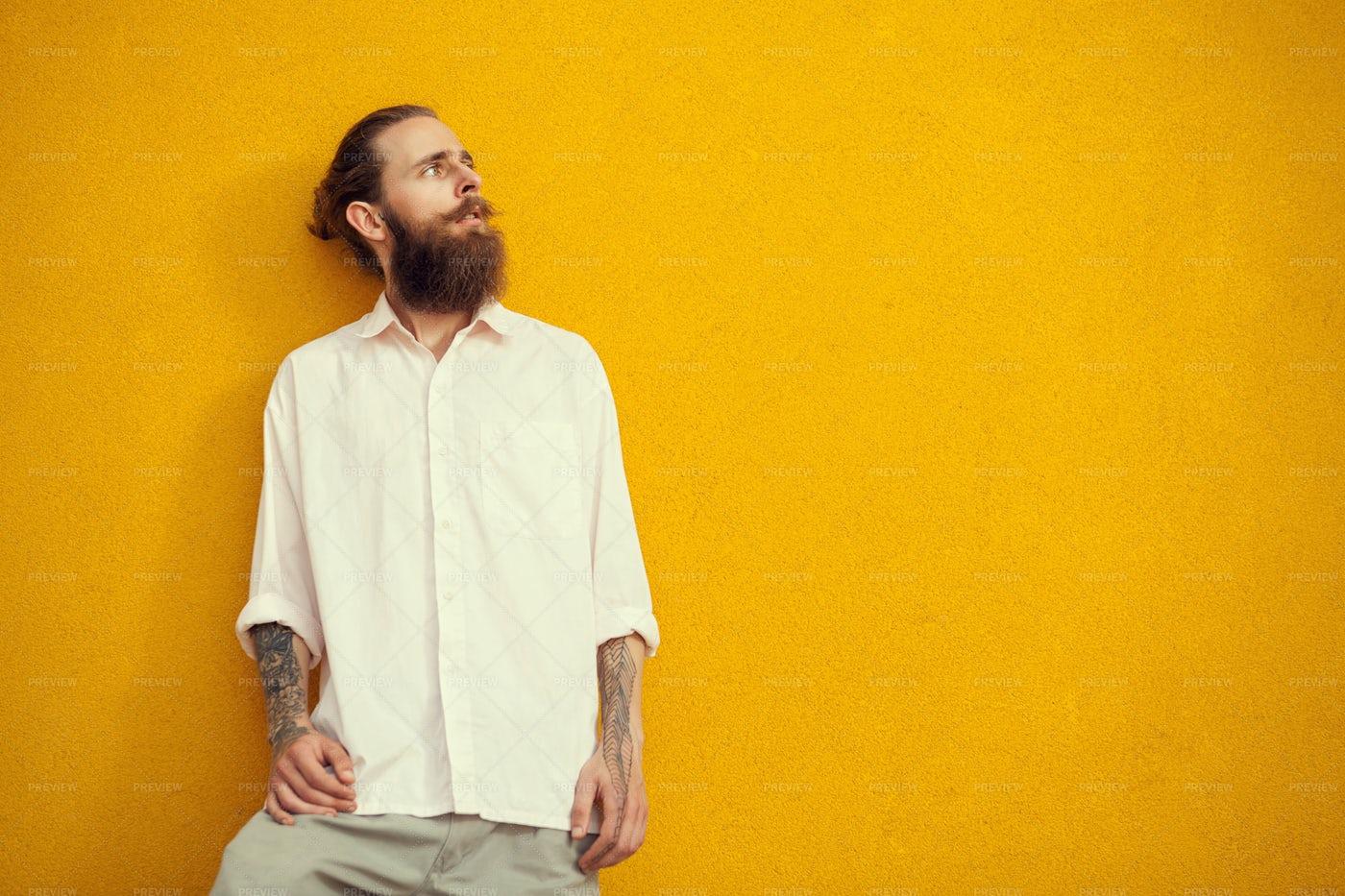 Bearded Man With Tattoos: Stock Photos