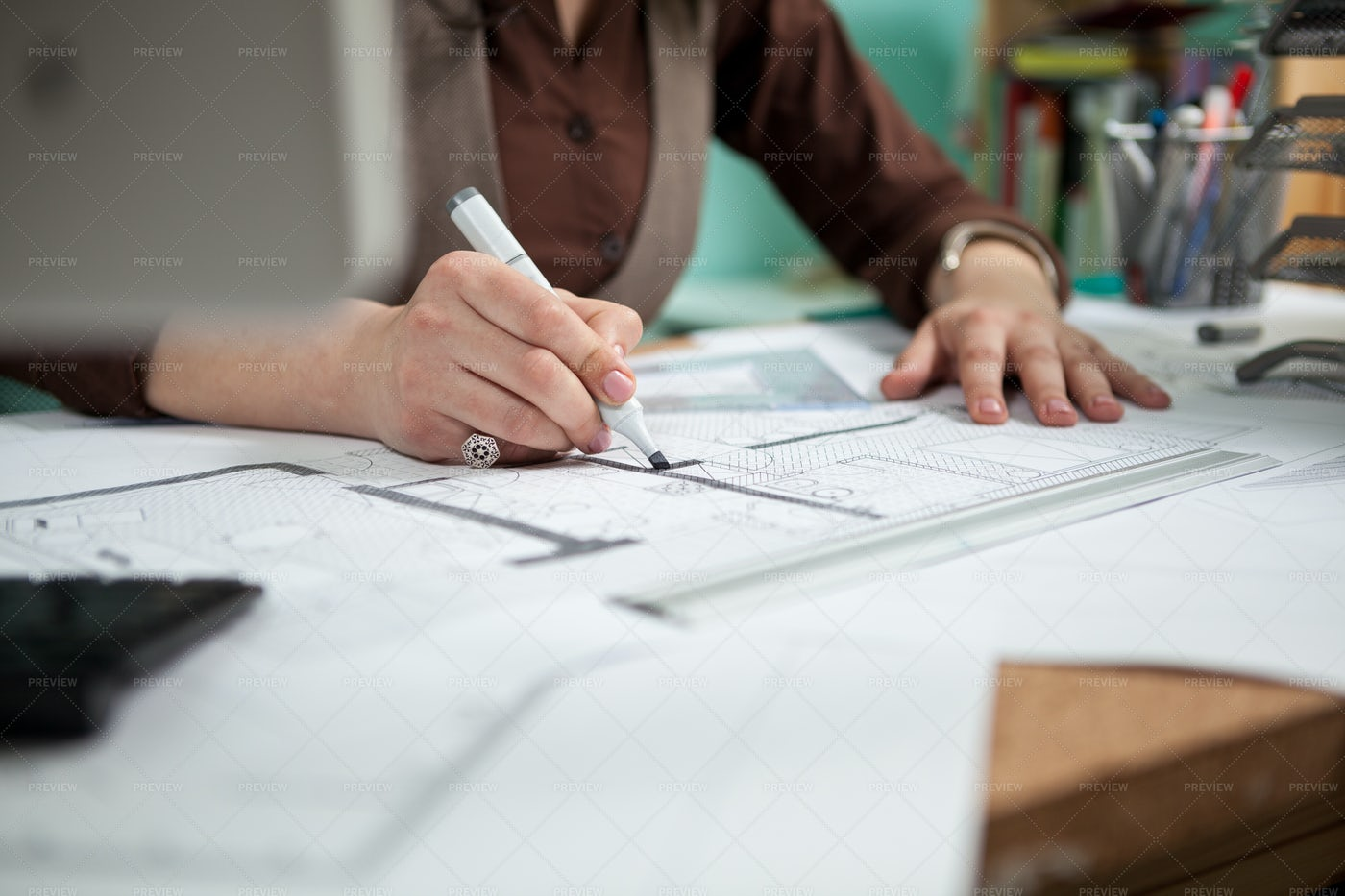 Architect At Her Working Desk: Stock Photos