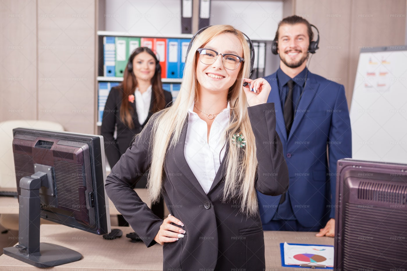 Portrait Of Customer Support Worker: Stock Photos