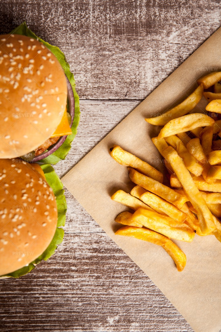 Top View Of Burgers And Fries: Stock Photos