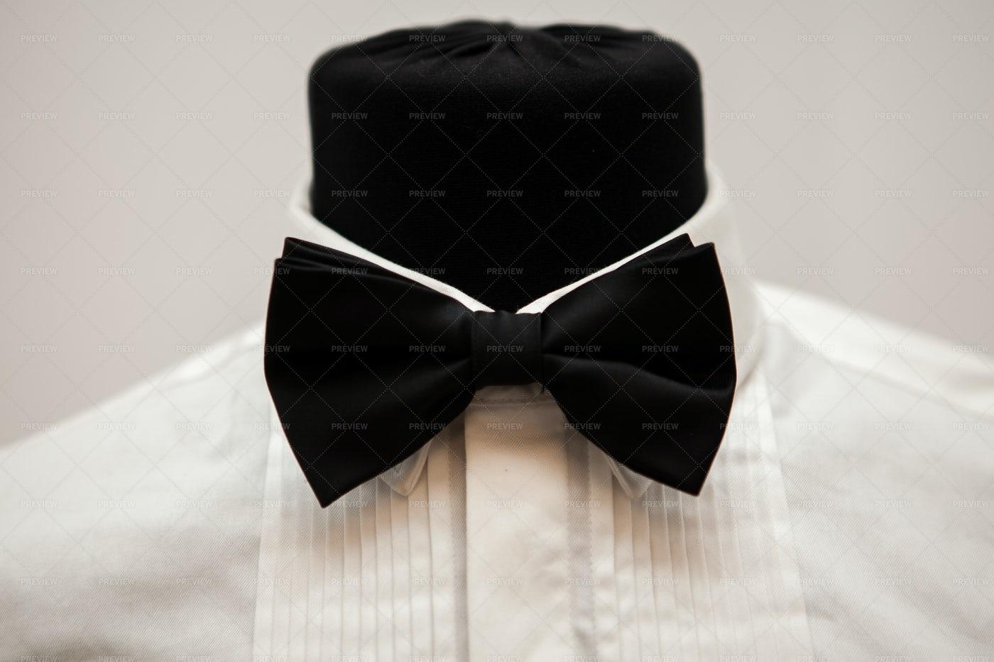 Formal Tux Shirt And Bowtie: Stock Photos