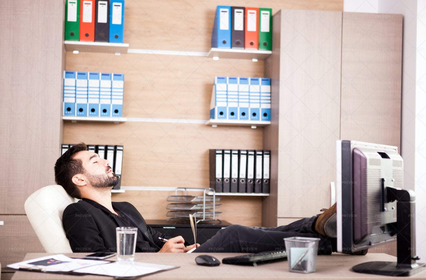 Relaxing In The Office: Stock Photos