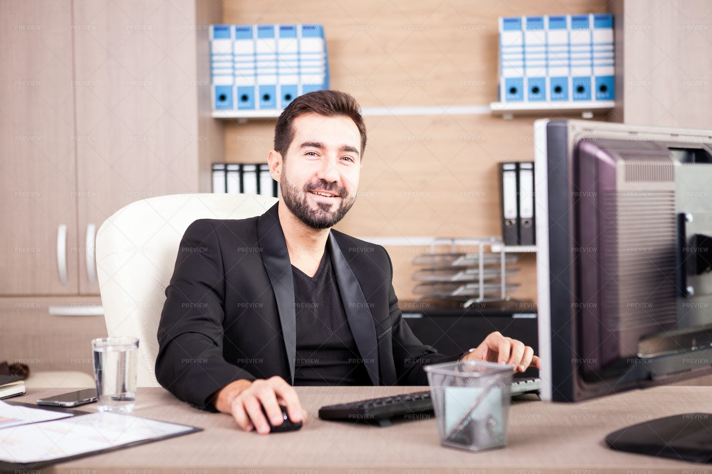 Bearded Man Working In His Office: Stock Photos