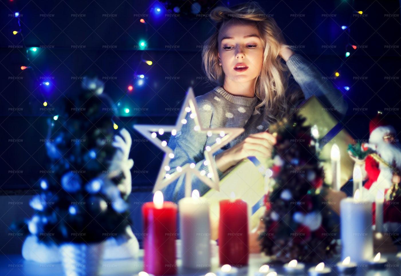 Beautiful Blonde On Christmas: Stock Photos