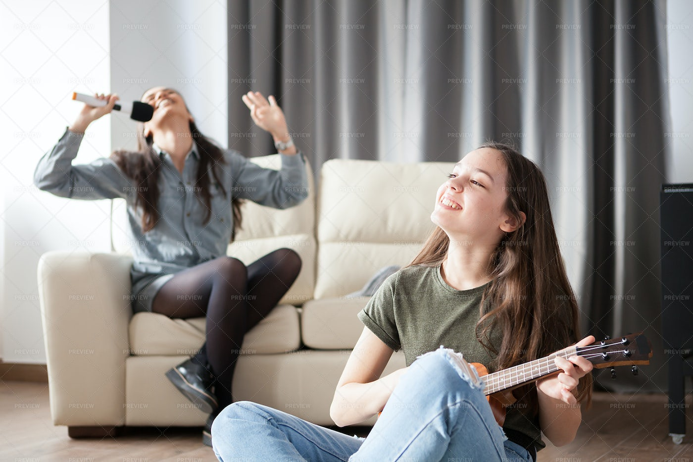 Two Sisters At Home: Stock Photos