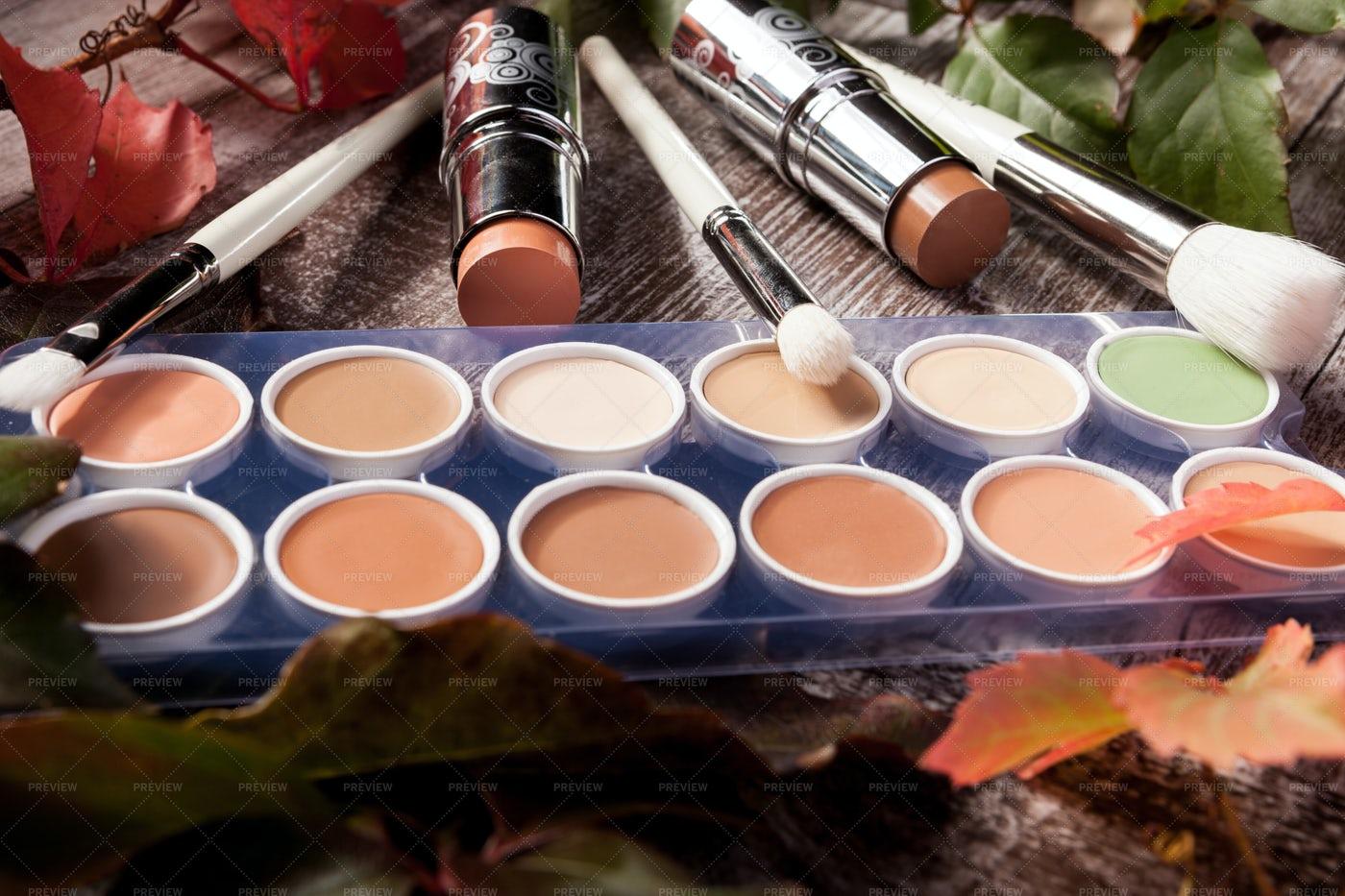 Cosmetics In Autumnn: Stock Photos