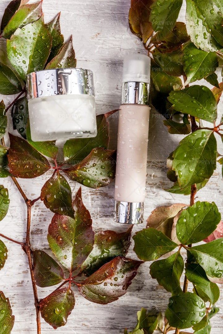 Cosmetic Products In Bottles: Stock Photos