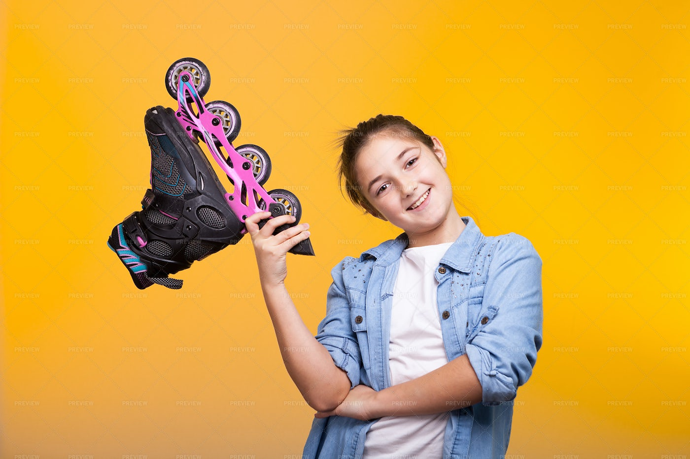 Happy Kid Holding A Roller Skate: Stock Photos