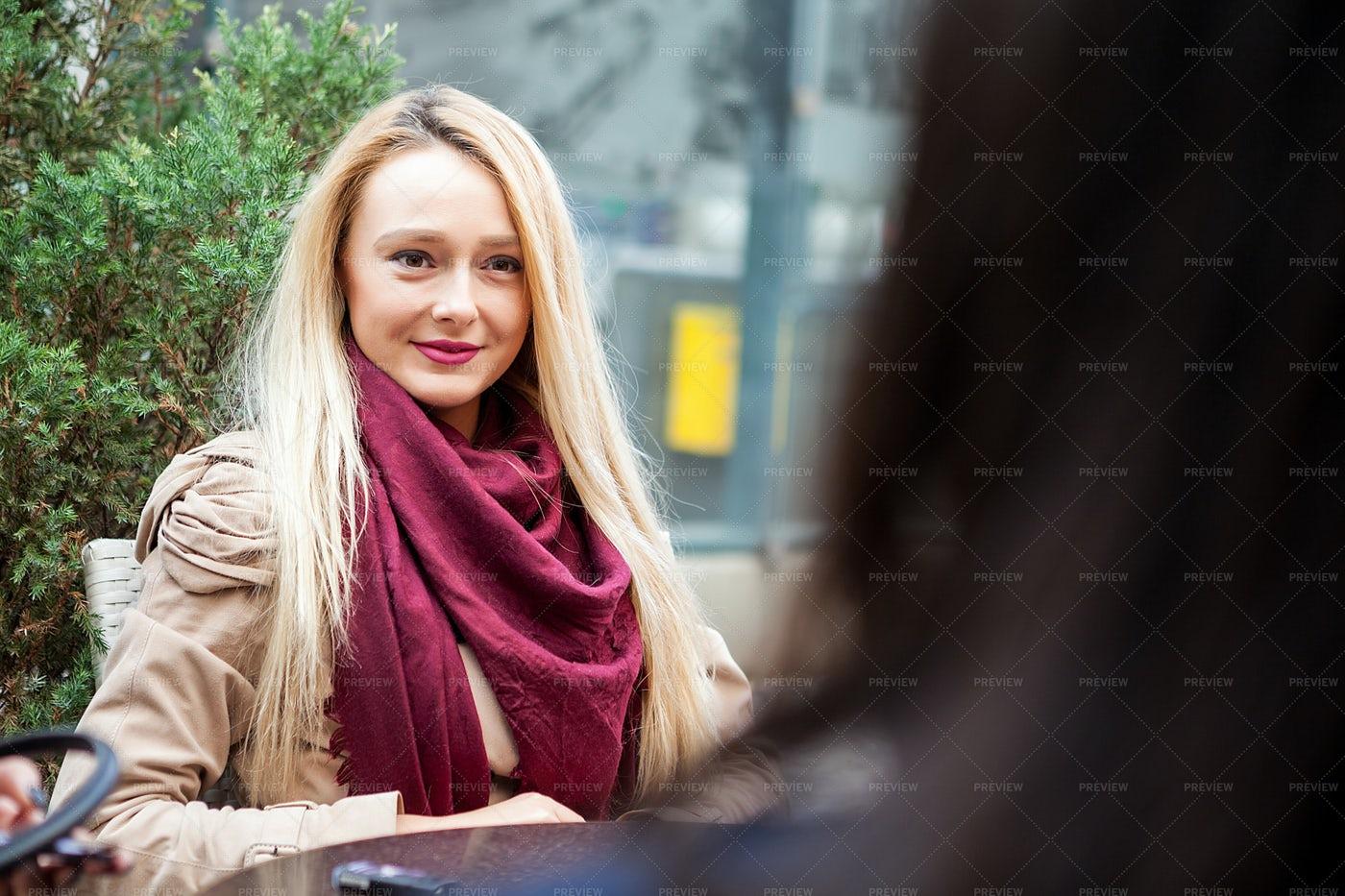 Woman In A Terrace: Stock Photos
