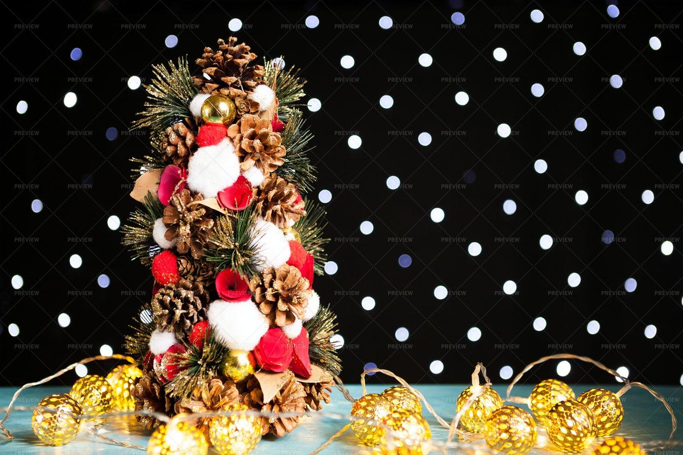 Mini Christmas Tree With Pine Seeds: Stock Photos