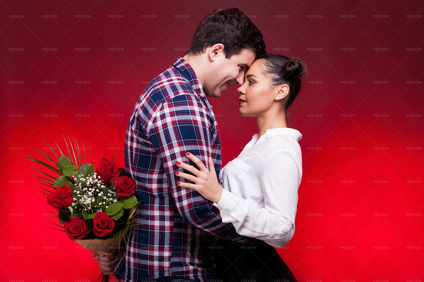 Man With A Roses Bouquet At His Back: Stock Photos