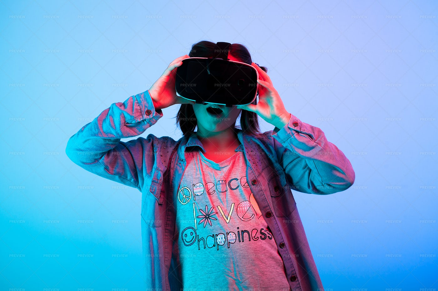 Child Experimenting With VR: Stock Photos