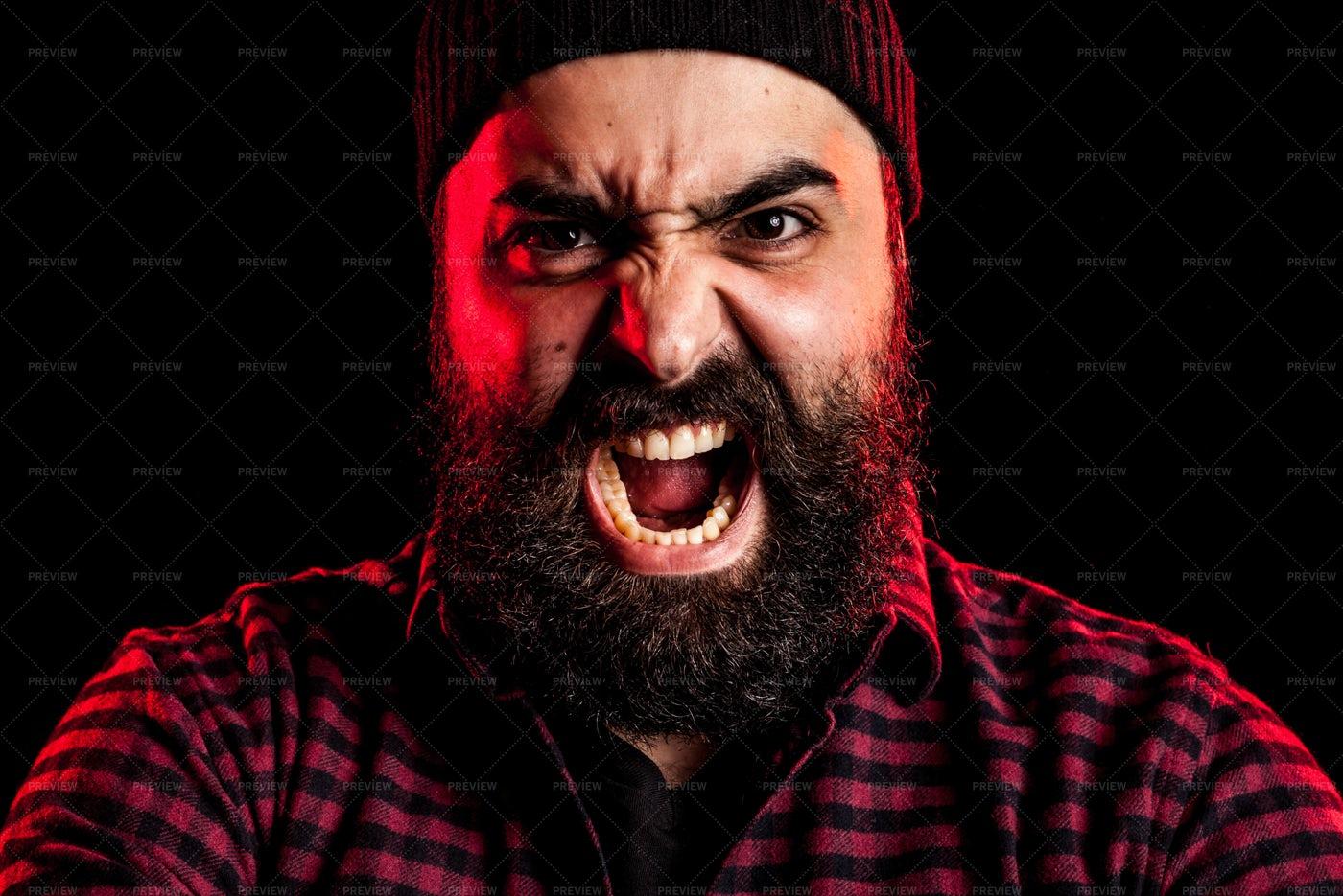 Bearded Man Screaming: Stock Photos