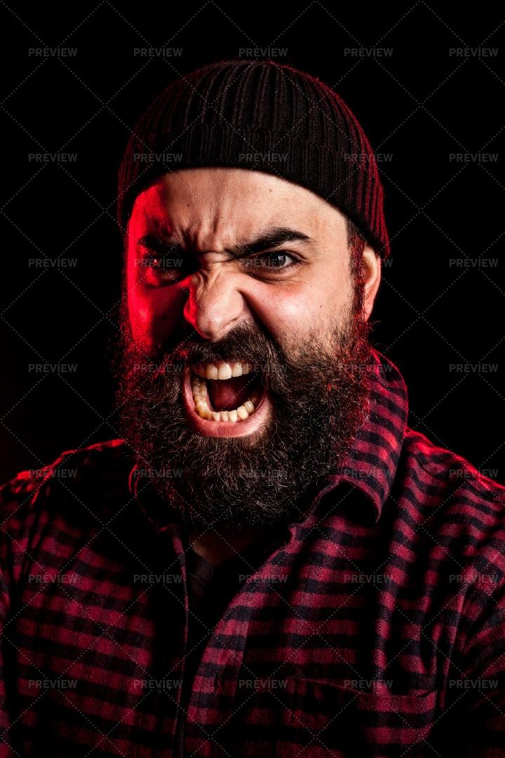 Angry Man Screaming: Stock Photos