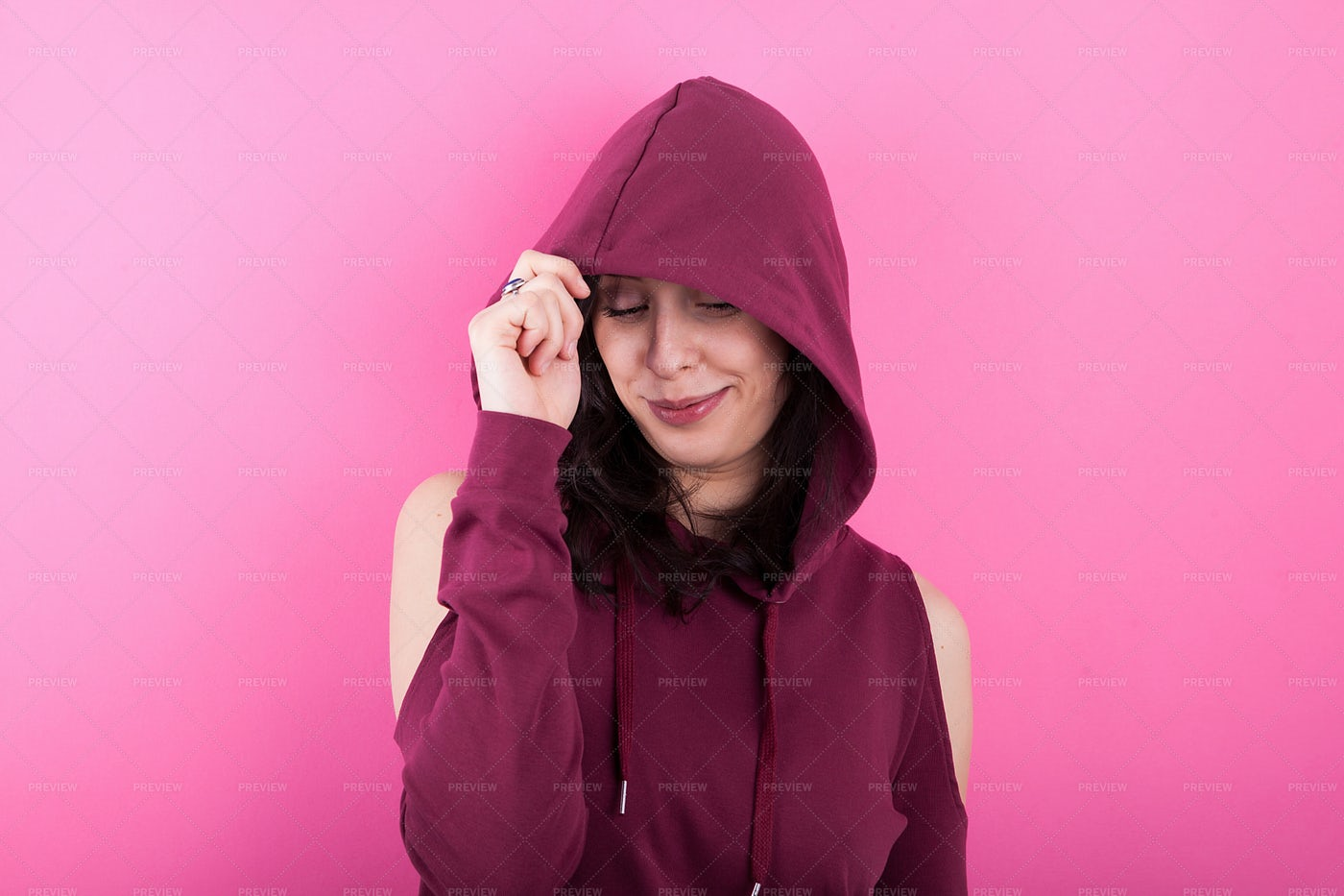 Girl With A Hoodie: Stock Photos