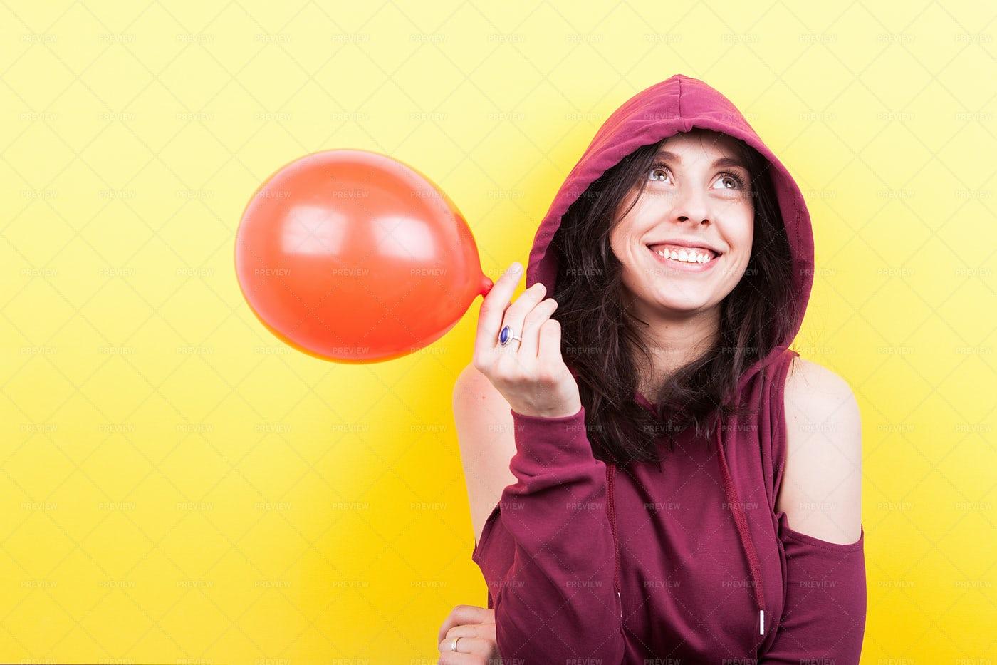 Girl With A Ballon: Stock Photos