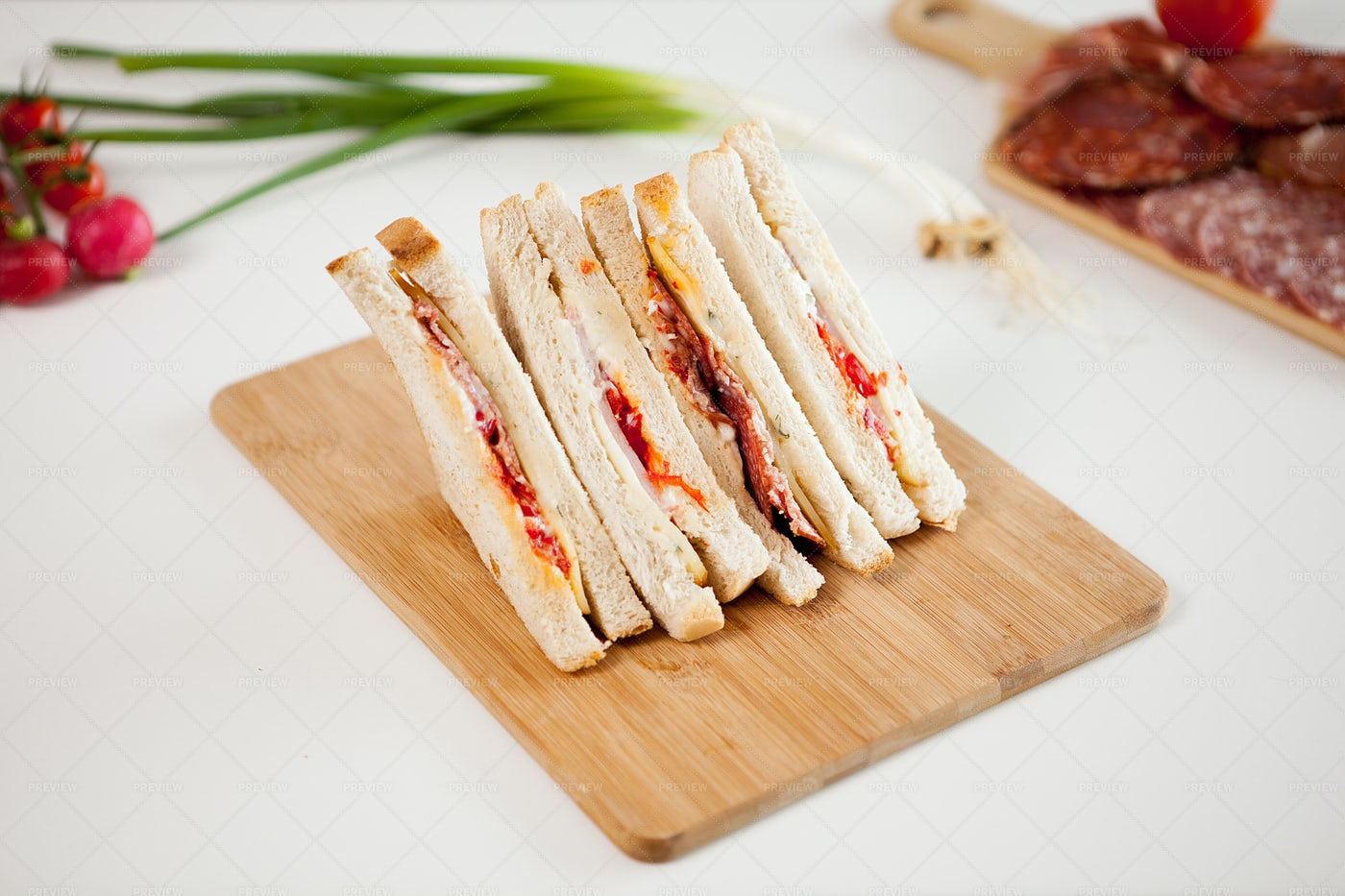Top View Of Club Sandwiches: Stock Photos