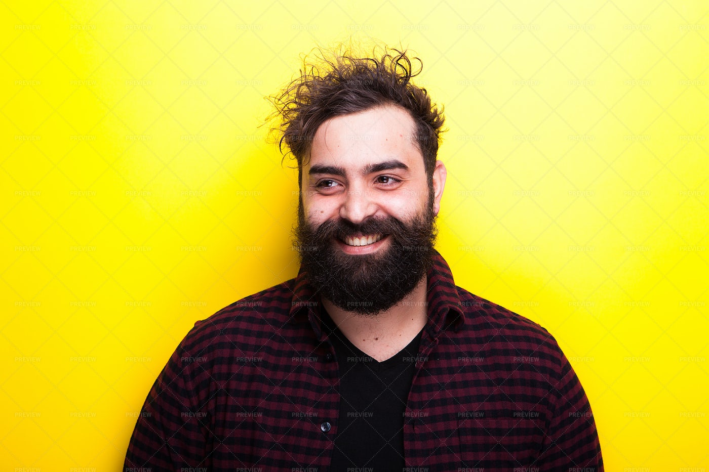 Smiling Bearded Hipster: Stock Photos