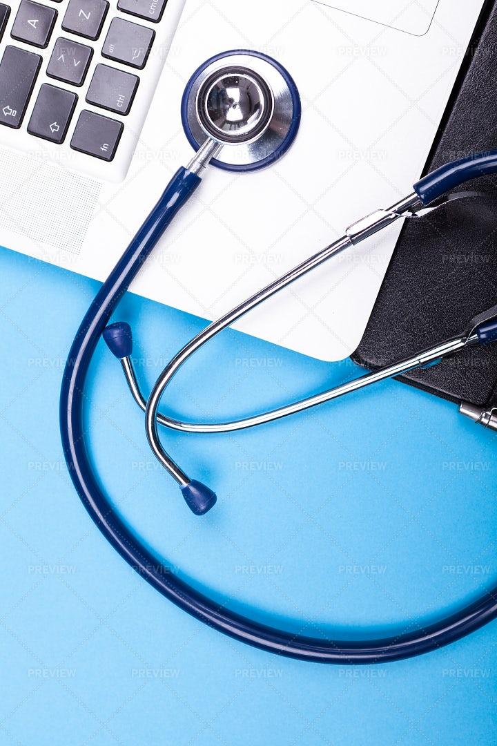 Stethoscope On A Modern Laptop: Stock Photos