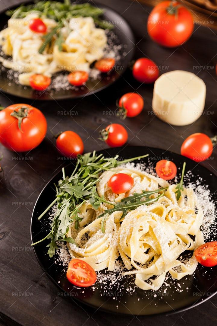 Mozzarella Cheese With Tagliatelle Pasta: Stock Photos