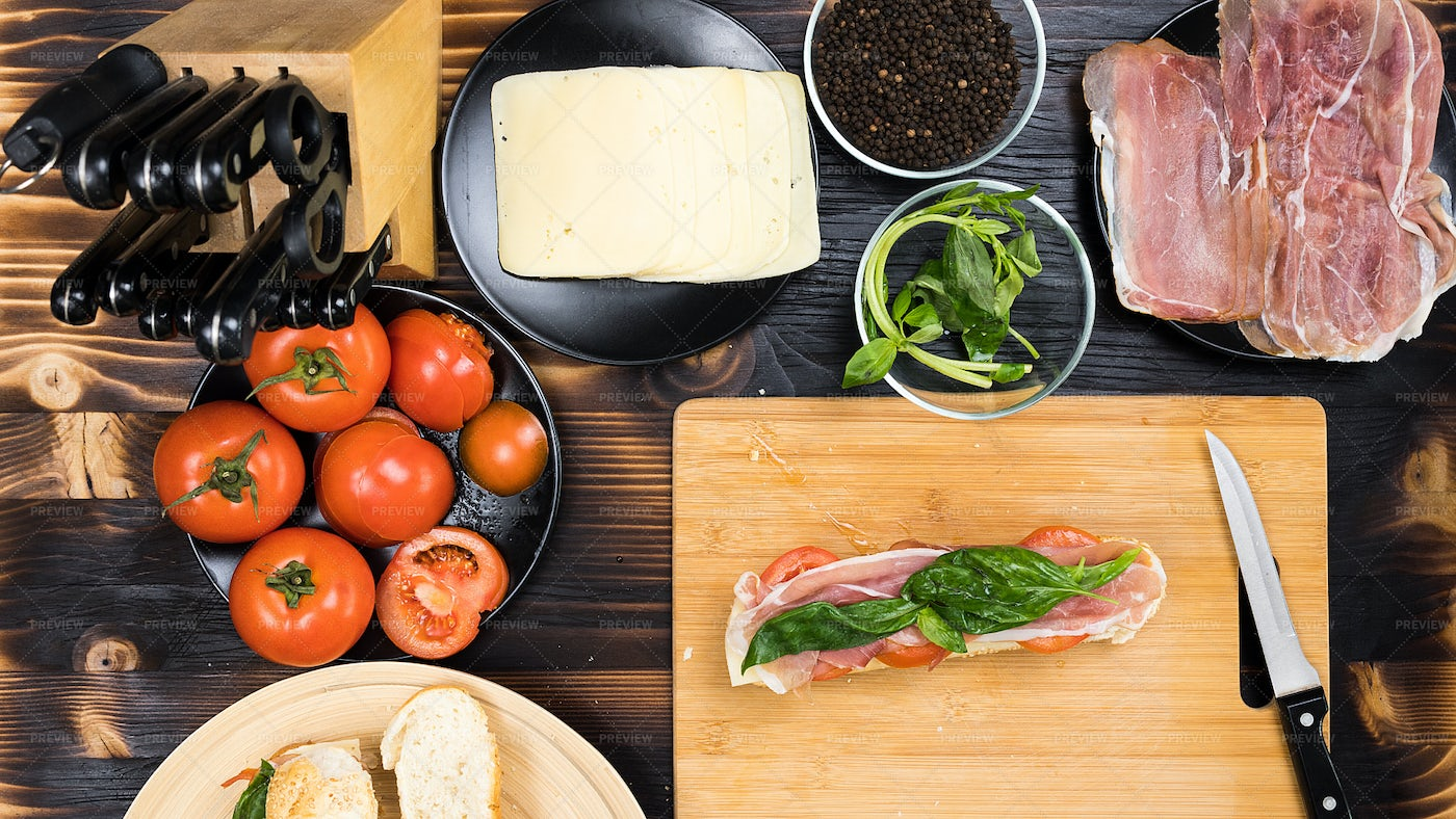 Making A Sandwich In The Kitchen: Stock Photos