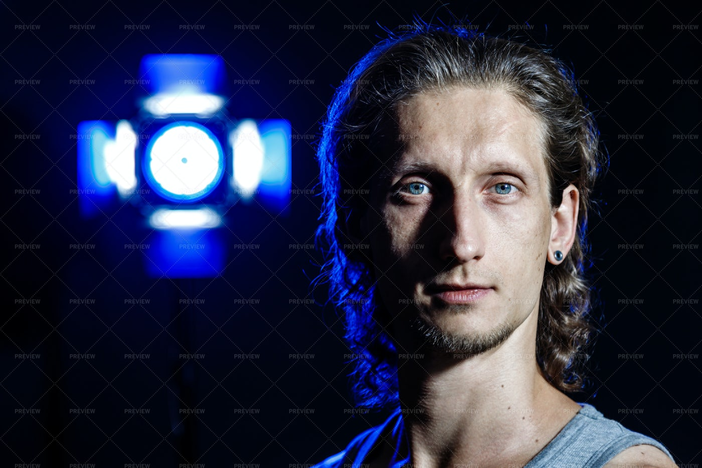 Blue Portrait: Stock Photos