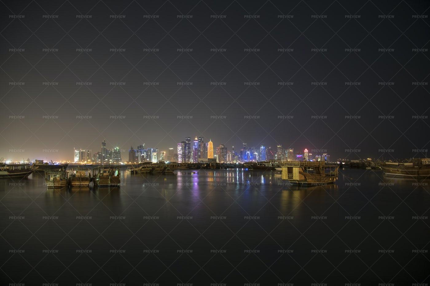 Doha At Night: Stock Photos