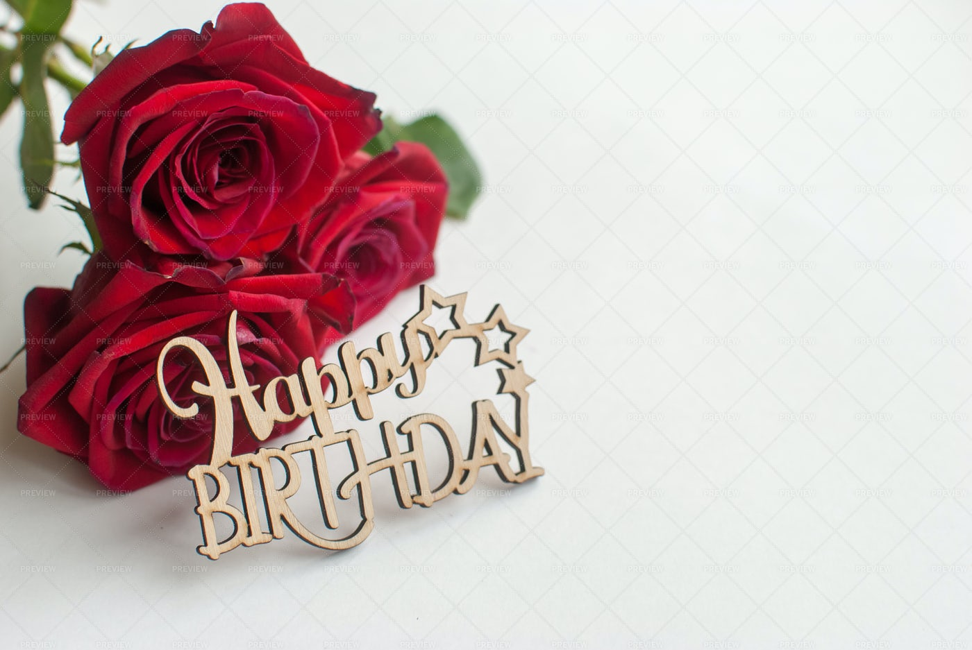 Happy Birthday And Roses: Stock Photos