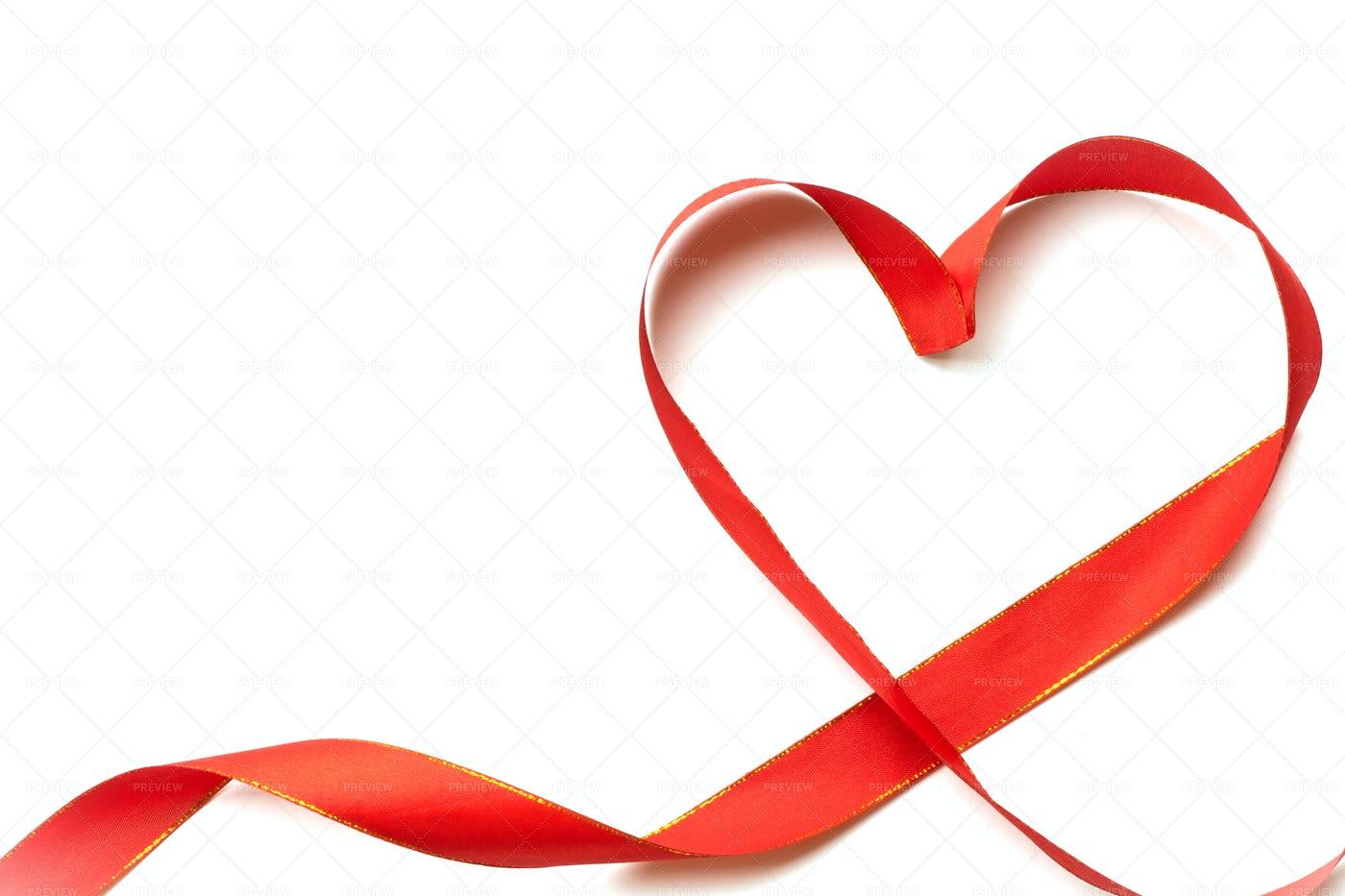 Red Ribbon Shaped As Heart: Stock Photos