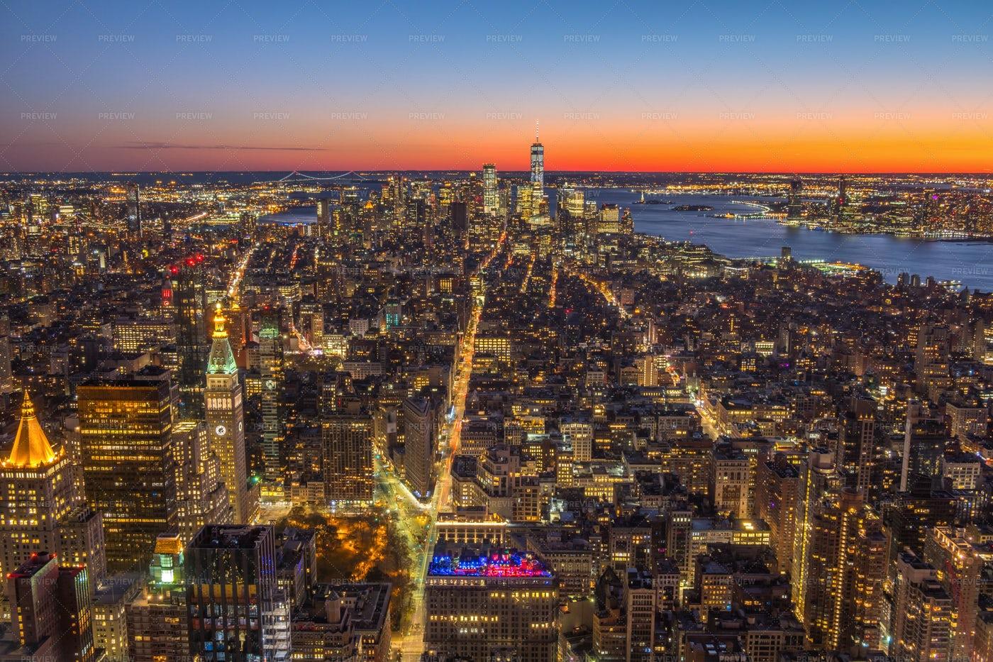 Illuminated Cityscape Of Manhattan: Stock Photos