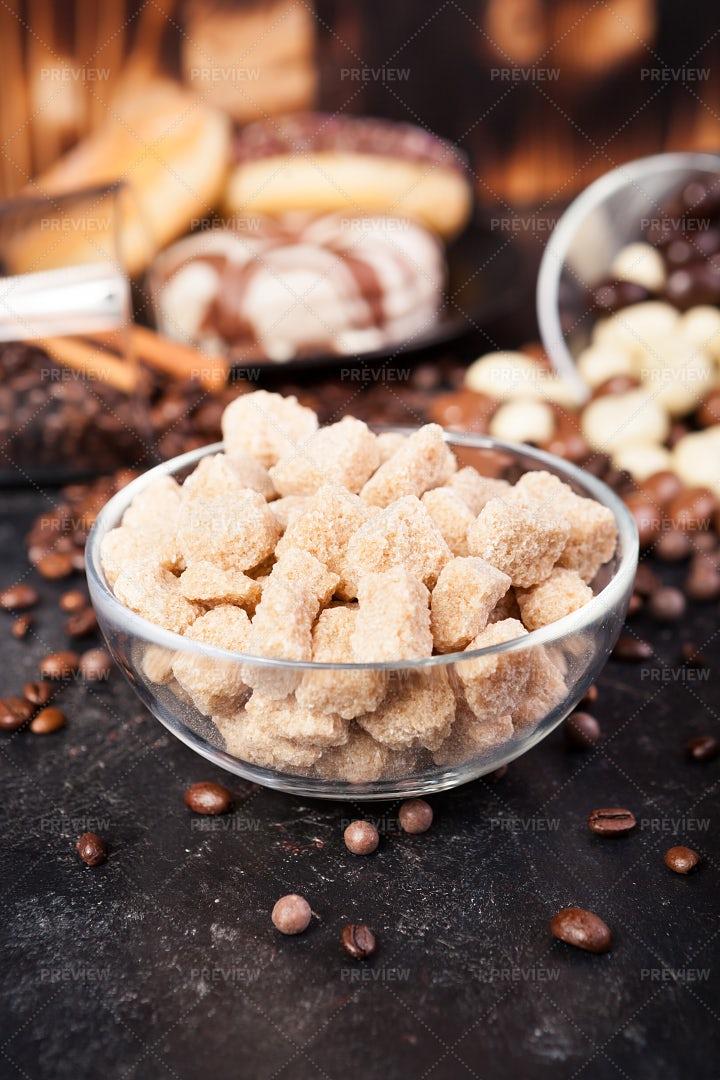Brown Sugar In A Glass Bowl: Stock Photos